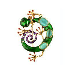 Crystal Enamel Green Gecko Brooches Lizard Brooch Pins Animal Corsage Chameleon Scarf Buckle -