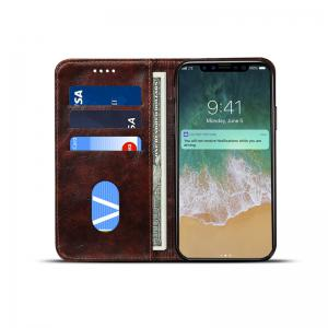 Baroque Texture Leather Flip Stand Wallet Case for iPhone X -