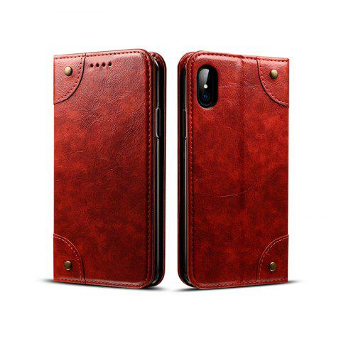 Cheap Baroque Texture Leather Flip Stand Wallet Case for iPhone X