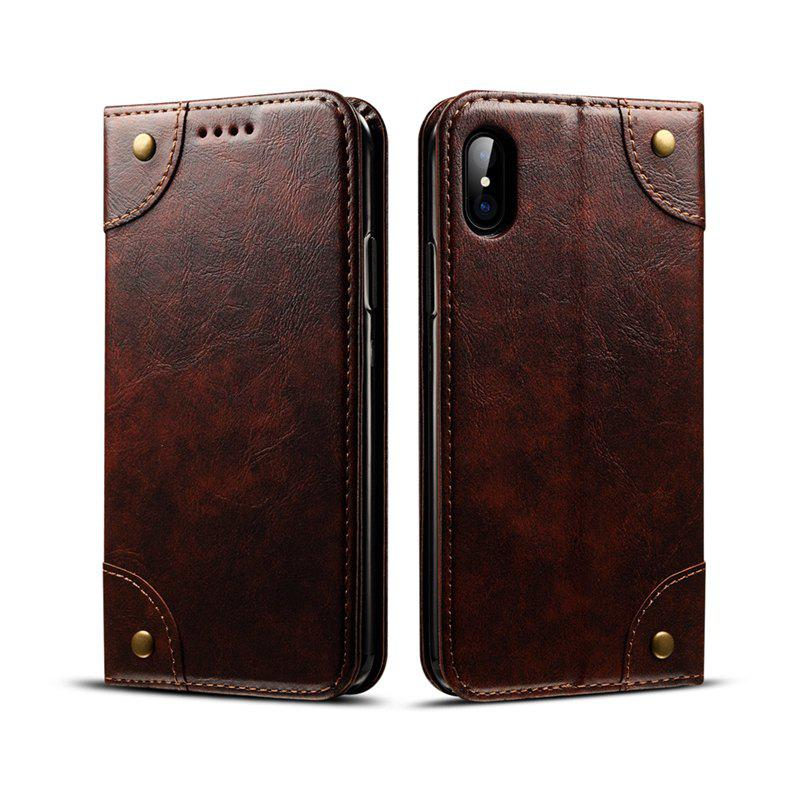 Fancy Baroque Texture Leather Flip Stand Wallet Case for iPhone X