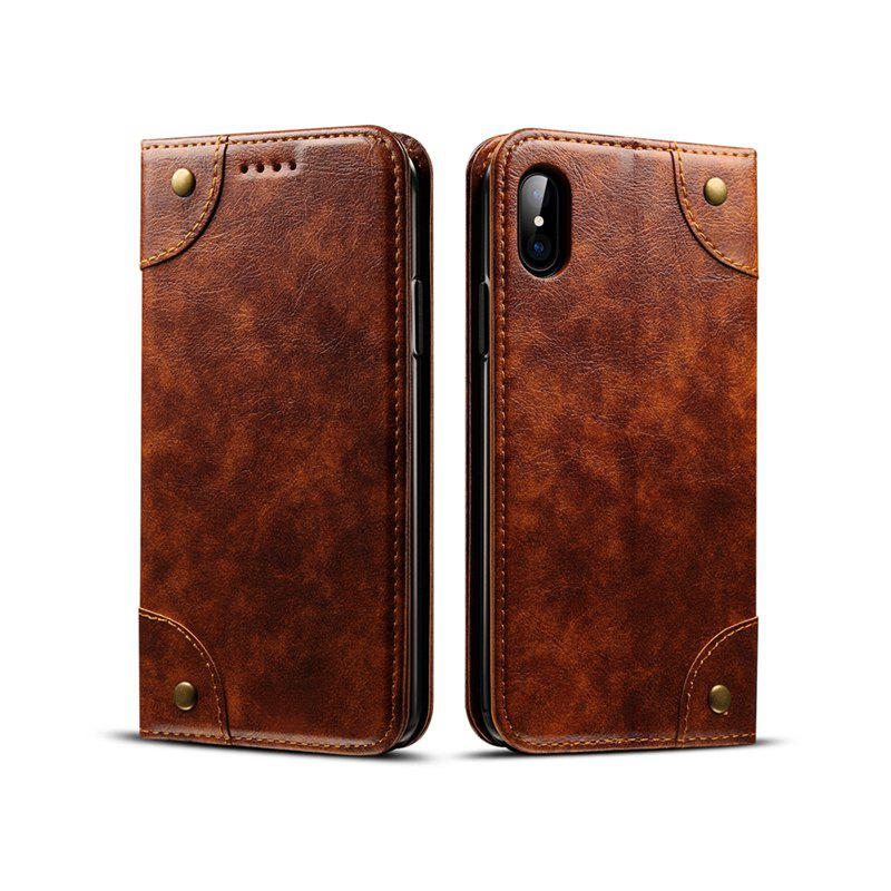 Latest Baroque Texture Leather Flip Stand Wallet Case for iPhone X