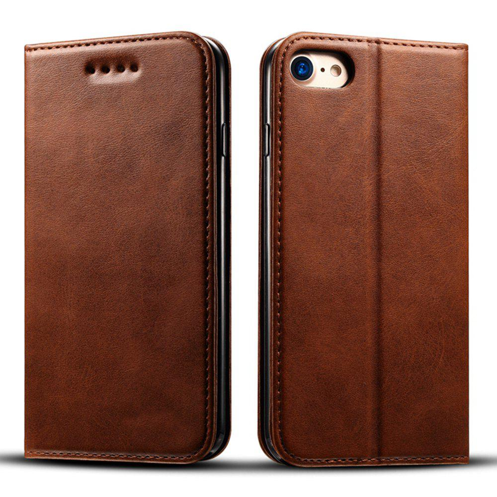 Buy Magnetic Closure Cow Leather Case with Card Slots and Kickstand for iPhone 7 / 8