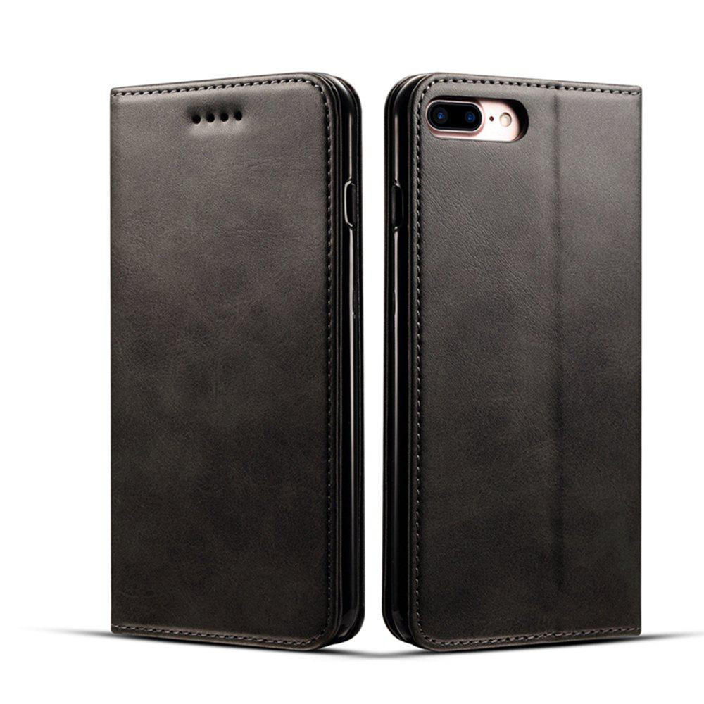 Sale Magnetic Closure Cow Leather Case with Card Slots and Kickstand for iPhone 7 Plus / 8 Plus