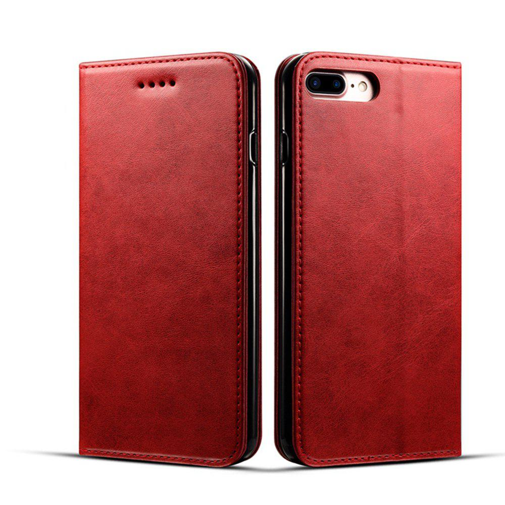 Chic Magnetic Closure Cow Leather Case with Card Slots and Kickstand for iPhone 7 Plus / 8 Plus