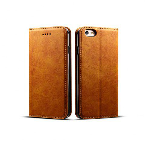 Buy Magnetic Closure Cow Leather Case with Card Slots and Kickstand for iPhone 6 Plus / 6s Plus