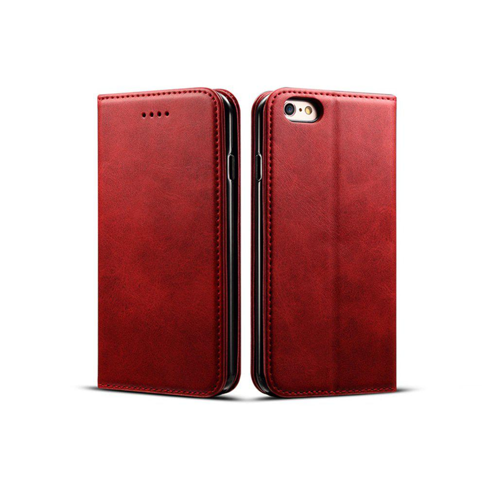 Online Magnetic Closure Cow Leather Case with Card Slots and Kickstand for iPhone 6 Plus / 6s Plus