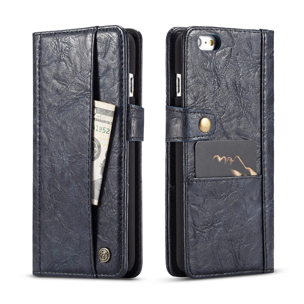 Best CaseMe Cracked Effect Premium Leather Pouch Case with Kickstand Card Slots for iPhone 6 / 6s