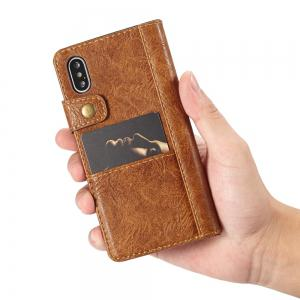 CaseMe Cracked Effect Premium Leather Pouch Case with Kickstand Card Slots for iPhone X -