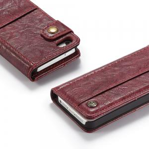 CaseMe Cracked Effect Premium Leather Pouch Case with Kickstand Card Slots for iPhone 5 / 5s / SE -