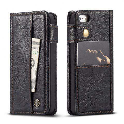 Chic CaseMe Cracked Effect Premium Leather Pouch Case with Kickstand Card Slots for iPhone 5 / 5s / SE