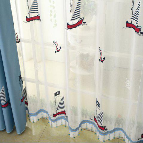 Outfits Cartoon embroidered sailing boat curtain/Blue/Children curtain