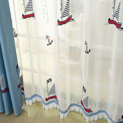 Cartoon embroidered sailing boat curtain/Blue/Children curtain -