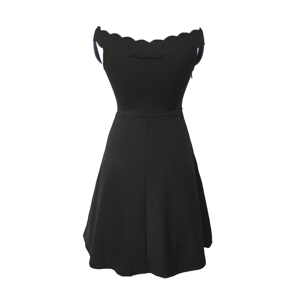 Latest 2017 Womens Elegant  Summer Off  Shoulder Solid  Cute Casual Party A- Line Mini Dress