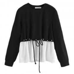 Women's Fashionable Round Neck Spell Color Beads Long Sleeve T-Shirt -