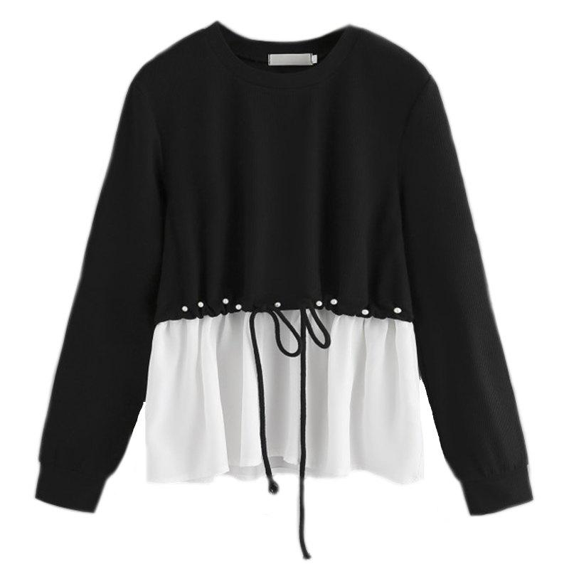 Unique Women's Fashionable Round Neck Spell Color Beads Long Sleeve T-Shirt