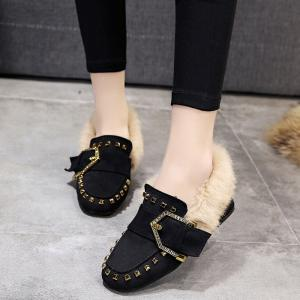 Women Winter Autumn Fashion Casual Bock Thick High Heel Loafer Rivet Shoes with Fur -