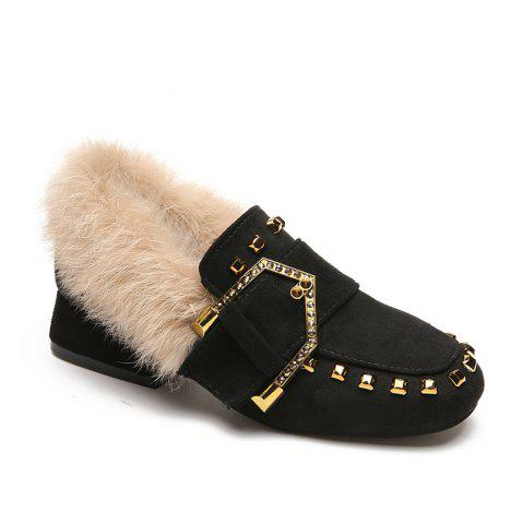 Chic Women Winter Autumn Fashion Casual Bock Thick High Heel Loafer Rivet Shoes with Fur