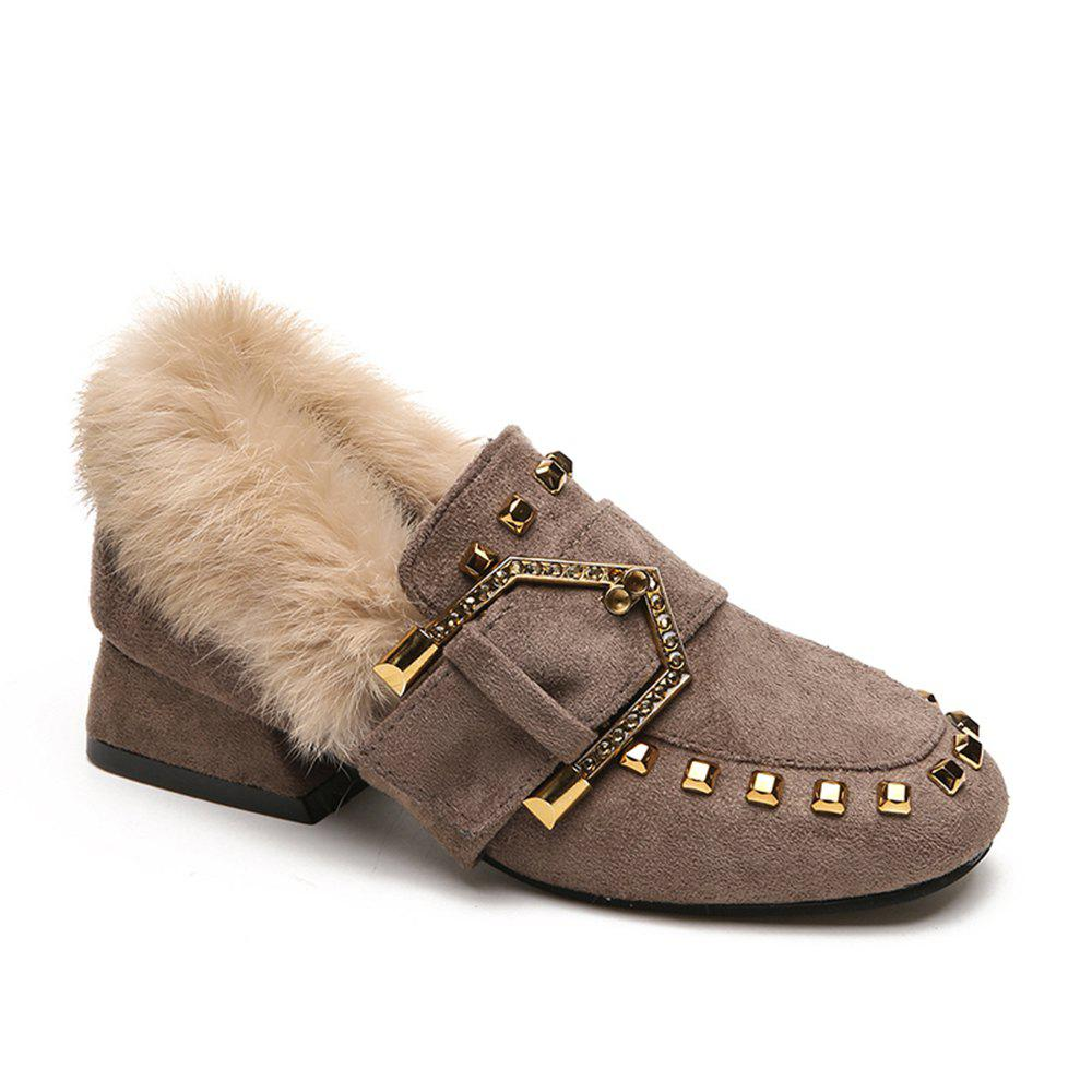 Hot Women Winter Autumn Fashion Casual Bock Thick High Heel Loafer Rivet Shoes with Fur