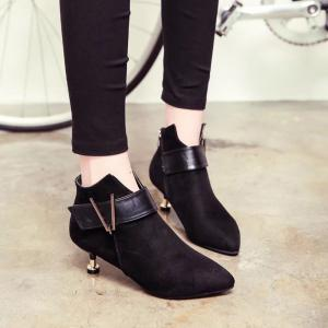 Women Winter Autumn Fashion Sexy Thin Heel Roman Pointed Buckle Shoes with Zipper -