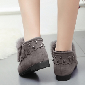 Women Winter Autumn Fashion Casual Low Heel Loafer Rivet Flat Shoes with Fur -