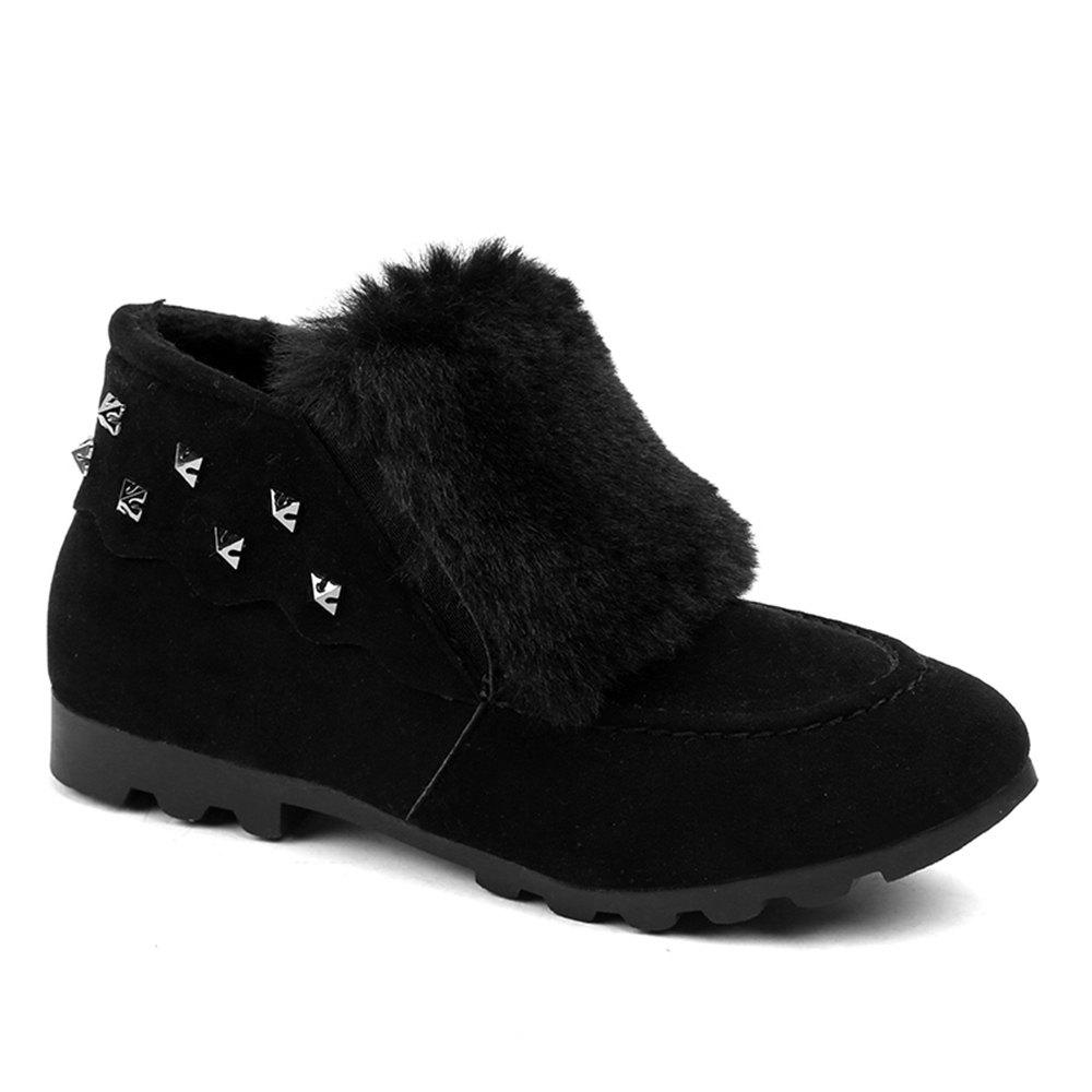 Hot Women Winter Autumn Fashion Casual Low Heel Loafer Rivet Flat Shoes with Fur