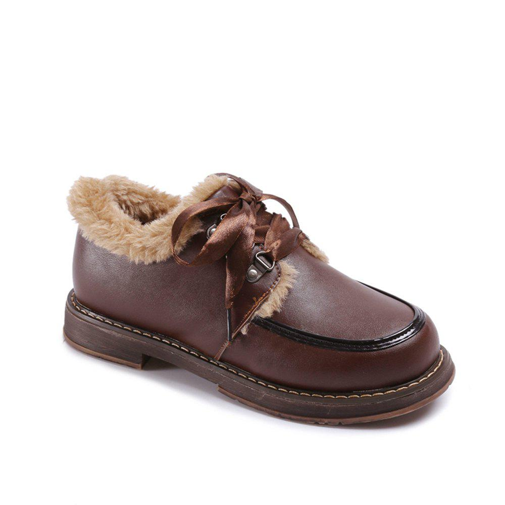 Cheap Women Winter Autumn Fashion Casual Bock Thick Low Heel PU Leather Lace Shoes with Fur