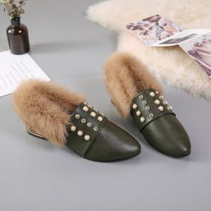 Women Winter Single Sexy Fashion Casual Rivet Block Thick Low HIgh Shoes with Fur -