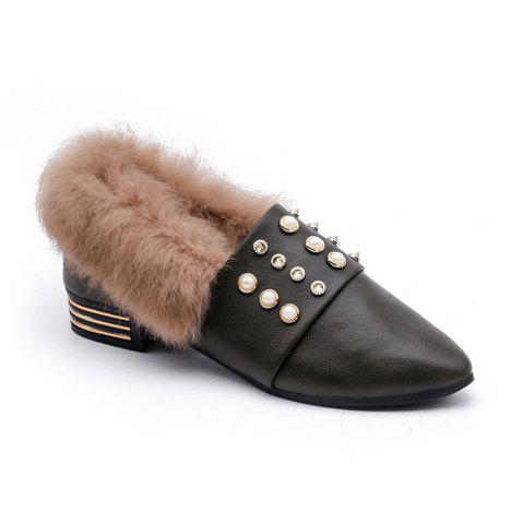 Buy Women Winter Single Sexy Fashion Casual Rivet Block Thick Low HIgh Shoes with Fur