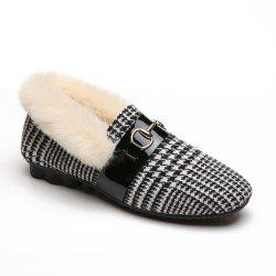 Women Winter Single Sexy Fashion Casual Low Heel Flat Fur Shoes -