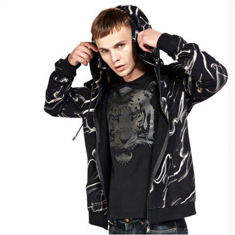 Latest Men's Hoodie Casual Fashion Color Block Print All Match Long Sleeve Hoodie