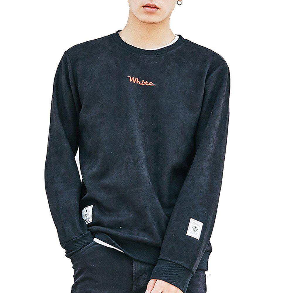 Chic Men's Sweatshirt O Neck Long Sleeve Embroidery Loose Pullover
