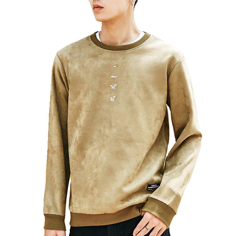Affordable Men's Sweatshirt O Neck Long Sleeve Embroidery Loose Pullover