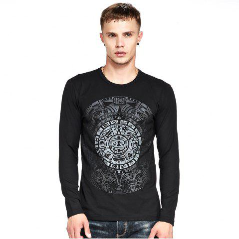 Online Men's T Shirt Color Block Print All Match Chic T Shirt