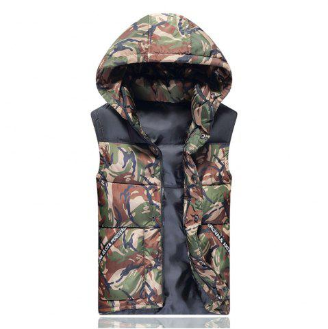 Outfits Men's Vest Jacket Camouflage Pattern Sleeveless Hooded Warm Outwear