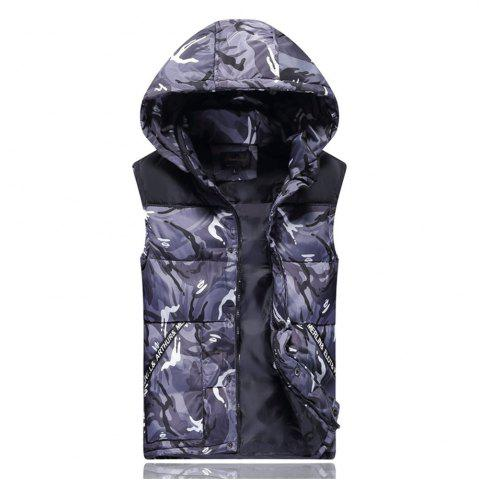 Chic Men's Vest Jacket Camouflage Pattern Sleeveless Hooded Warm Outwear