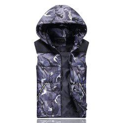 Men's Vest Jacket Camouflage Pattern Sleeveless Hooded Warm Outwear -
