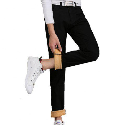 Online Men's Casual Pants Comfy All Match Solid Color Thickened Pants