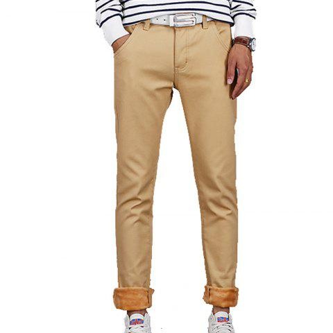 Unique Men's Casual Pants Comfy All Match Solid Color Thickened Pants