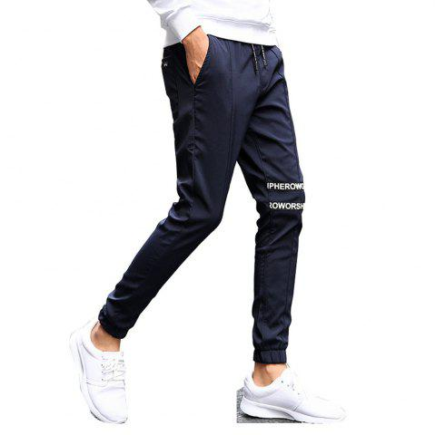 Chic Men's Casual Pants Comfy Solid Color Trendy Drawstring Thickened Pants