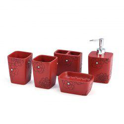 Bathroom Accessories Set Soap Lotion Toothbrush Holder Cup 5 pcs -