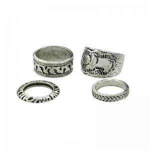 Antique Exquisite National Style Silver Elephant Pattern Lady Ring Four Pieces -