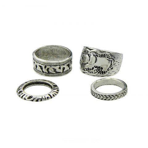 Online Antique Exquisite National Style Silver Elephant Pattern Lady Ring Four Pieces