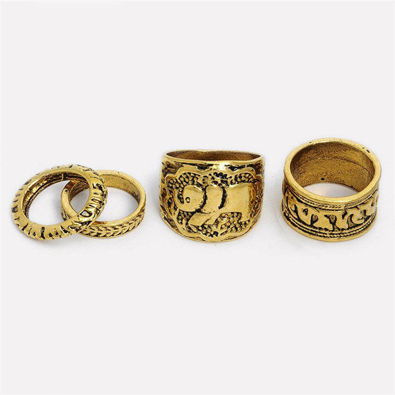 Outfit Antique Exquisite National Style Silver Elephant Pattern Lady Ring Four Pieces