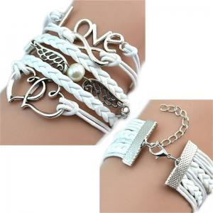 Fashionable and Delicate Bracelet Leather Woven Lady's Love hand Chain -