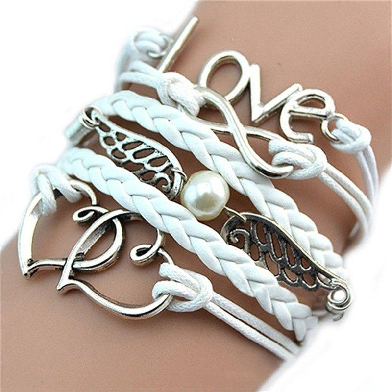 Discount Fashionable and Delicate Bracelet Leather Woven Lady's Love hand Chain