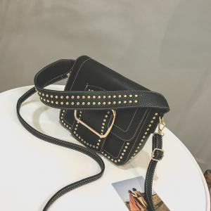 Wide Shoulder Rivet Bag Female 2018 New Handbag with A Single Shoulder Bag Trend Fashion -