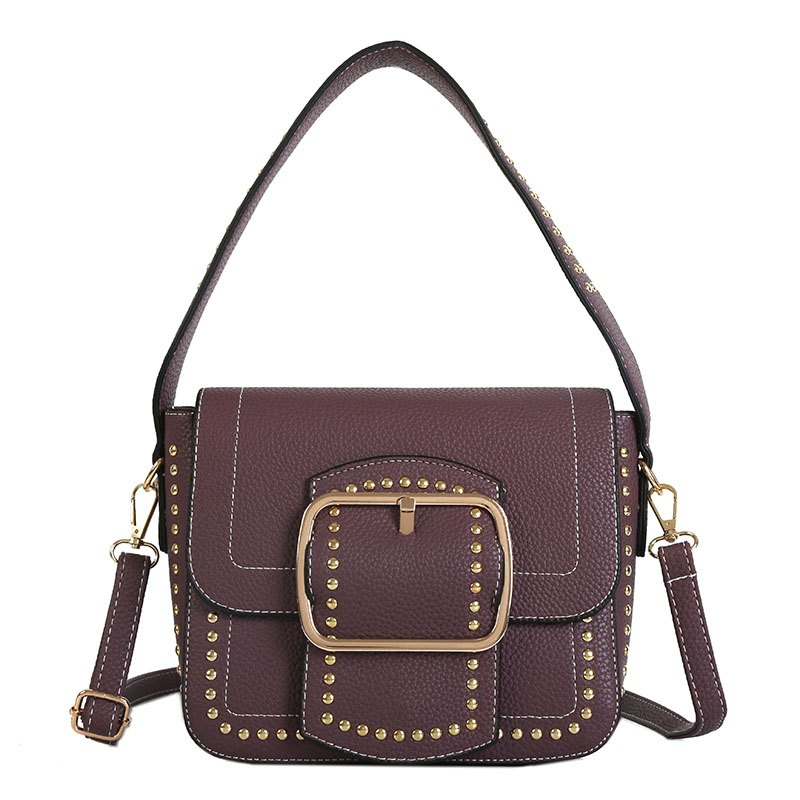 Outfits Wide Shoulder Rivet Bag Female 2018 New Handbag with A Single Shoulder Bag Trend Fashion