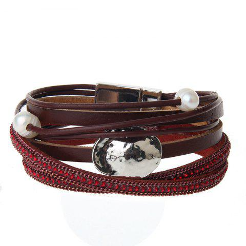 Fashion New Fashion Accessories All-match Multi-Level Magnet Buckle Leather Bracelet