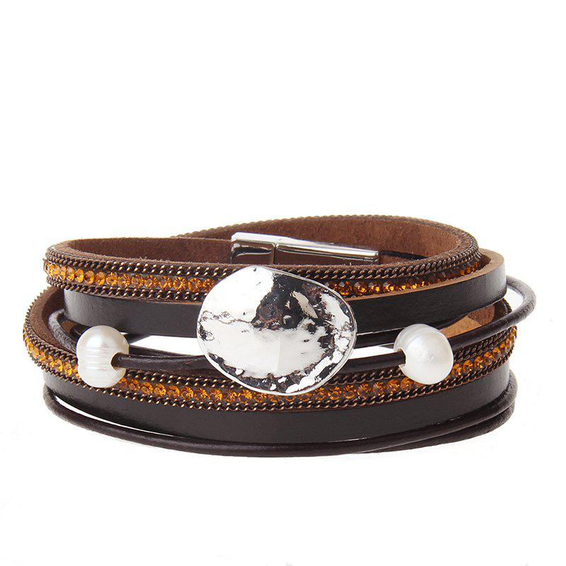 New New Fashion Accessories All-match Multi-Level Magnet Buckle Leather Bracelet