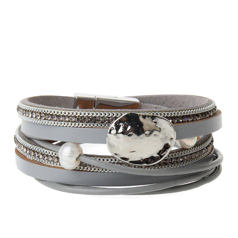 Trendy New Fashion Accessories All-match Multi-Level Magnet Buckle Leather Bracelet